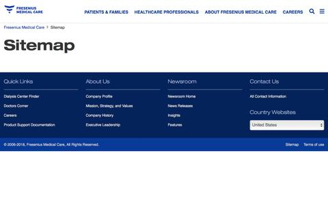 Screenshot of Site Map Page fmcna.com - Sitemap | Fresenius Medical Care - captured March 26, 2018