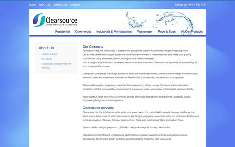 Screenshot of About Page clearsourcesarl.com - Clearsource Water Treatment Engineering LebanonAbout us - Clearsource Water Treatment Engineering Lebanon - captured Aug. 2, 2017
