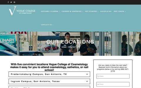 Screenshot of Locations Page vogue.edu - Convinient Locations Vogue College of Cosmetology - captured Oct. 26, 2017