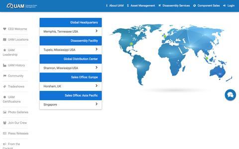 Screenshot of Locations Page uaminc.com - UAM::Locations - captured Oct. 24, 2016