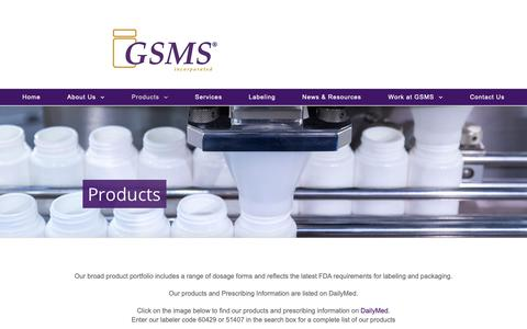Screenshot of Products Page gsms.us - Products • GSMS Incorporated - captured Nov. 9, 2018