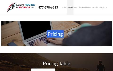Screenshot of Pricing Page adeptmoving.com - Pricing – Adept Moving & Storge Inc. - captured Nov. 20, 2016