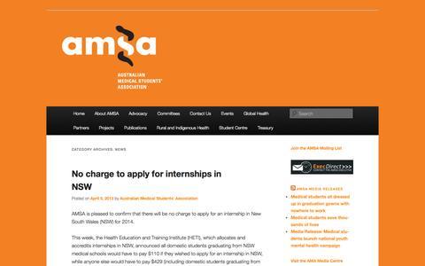 Screenshot of Press Page amsa.org.au - News   Australian Medical Students' Association - captured Oct. 4, 2014