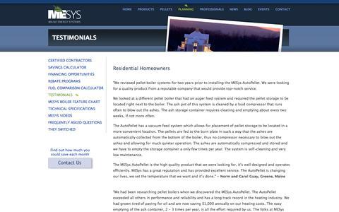 Screenshot of Testimonials Page maineenergysystems.com - MESys Testimonials : Maine Energy Systems - captured Sept. 30, 2014