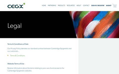 Screenshot of Terms Page cambridge-epigenetix.com - Legal | Cambridge Epigenetix - captured May 14, 2017