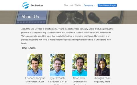 Screenshot of About Page ekodevices.com - About Us | Eko Devices » The Worlds Most Intelligent Stethoscope - captured Oct. 28, 2014