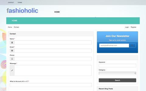 Screenshot of Contact Page fashioholic.com - Contact - Fashioholic Fashioholic - captured Dec. 4, 2015
