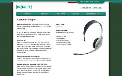 Screenshot of Support Page nrttech.com - Customer Support - NRT Technology Corp. - Gaming and casino solutions - captured Oct. 7, 2014