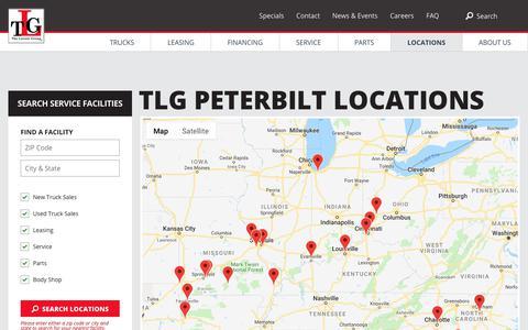 Screenshot of Locations Page tlgtrucks.com - Peterbilt Dealership Locations | TLG - captured Sept. 29, 2018