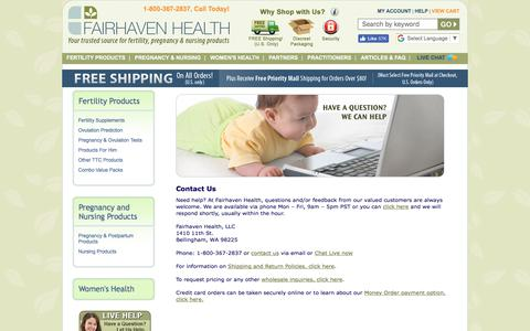 Screenshot of Contact Page Support Page fairhavenhealth.com - Contact Fairhaven Health - captured Oct. 13, 2017