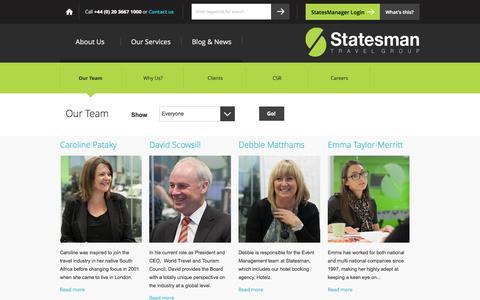 Screenshot of Team Page statesmantravel.com - Business Travel Agents London | Corporate Travel Management Team - captured Sept. 17, 2014