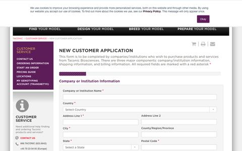 Screenshot of Support Page taconic.com - New Customer Application | Taconic Biosciences - captured Aug. 4, 2018