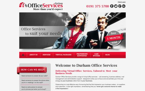 Screenshot of Home Page durhamofficeservices.co.uk - Virtual Office Services | Telephone Answering Services | Meeting Room Hire | Durham | Sunderland | Newcastle - captured Sept. 30, 2014