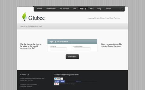 Screenshot of Signup Page glubeeglutenfree.com - Glubee Sign Up | Glubee - captured Oct. 2, 2014