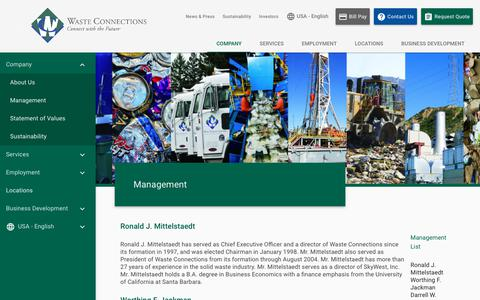 Screenshot of Team Page wasteconnections.com - Management | Waste Connections - captured Sept. 28, 2018
