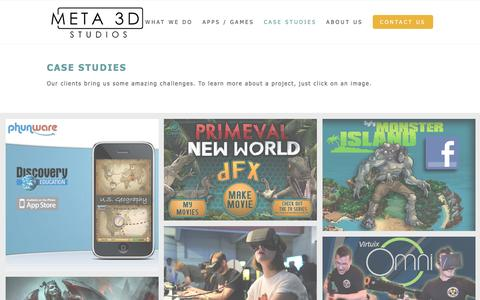 Screenshot of Case Studies Page meta3dstudios.com - Meta 3D Studios | We make cool, interactive stuff for you! - captured Dec. 19, 2015
