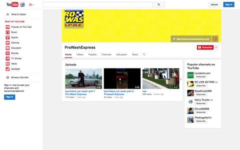 Screenshot of YouTube Page youtube.com - ProWashExpress  - YouTube - captured Nov. 5, 2014