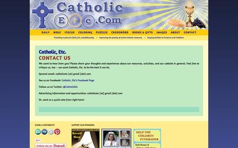 Screenshot of Contact Page catholicetc.com - Contact Catholic, Etc. - captured April 13, 2016
