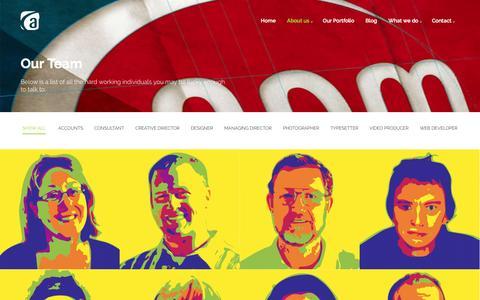 Screenshot of Team Page apmgraphics.com.au - Our Team    - captured March 23, 2016