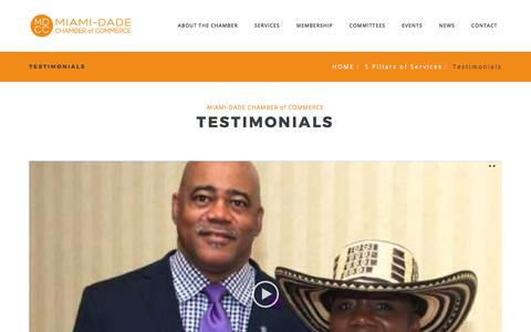 Screenshot of Testimonials Page m-dcc.org - Testimonials – Miami-Dade Chamber of Commerce - captured Oct. 18, 2017