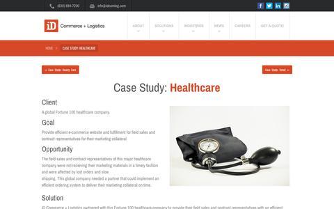 Screenshot of Case Studies Page idcomlog.com - Case Study: Healthcare - iD Commerce + Logistics - captured Sept. 18, 2017