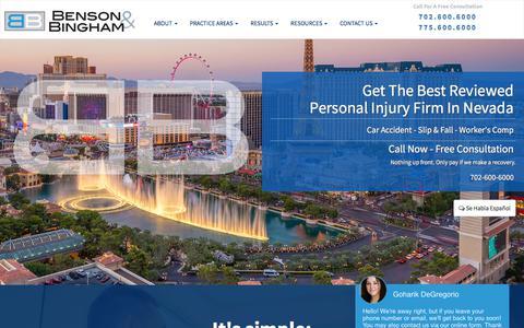 Screenshot of Home Page bensonbingham.com - Personal Injury Lawyer Las Vegas & Henderson, NV | Benson & - captured Aug. 2, 2019