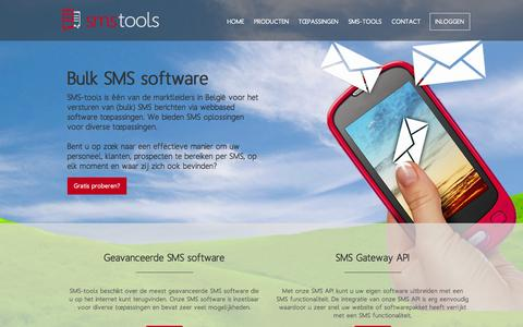 Screenshot of Home Page sms-tools.be - SMS Gateway - Bulk SMS Software - Mail2SMS - SMS api - captured Oct. 11, 2015
