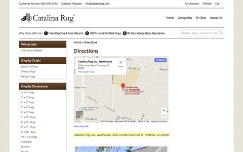 Screenshot of Maps & Directions Page catalinarug.com - Directions to Catalina Rug - captured Jan. 26, 2016