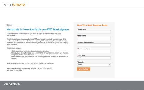 Screenshot of Landing Page velostrata.com - Webinar Registration - captured Nov. 17, 2016