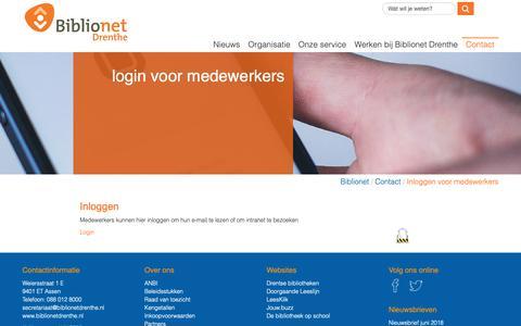 Screenshot of Login Page biblionetdrenthe.nl - Inloggen voor medewerkers - captured Nov. 6, 2018