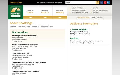 Screenshot of Locations Page newbridge.org - Counseling, housing and educational services, programs, workshops serving Morris and Passaic counties NJ - captured Oct. 24, 2017