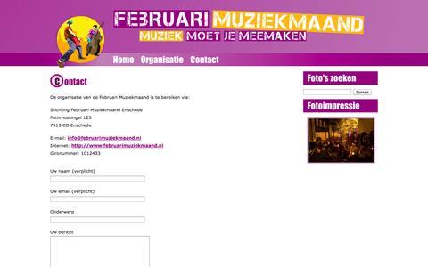 Screenshot of Contact Page februarimuziekmaand.nl - Contact   Februari Muziekmaand - captured Oct. 7, 2014