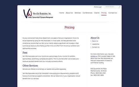 Screenshot of Pricing Page vanwieassociates.com - Pricing | Van Wie Associates - captured Oct. 27, 2014
