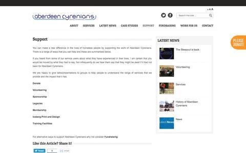 Screenshot of Support Page aberdeen-cyrenians.com - Aberdeen Cyrenians Support - Aberdeen Cyrenians - captured July 8, 2016