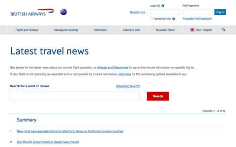 Travel news | British Airways