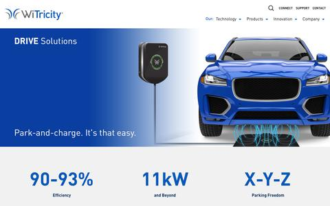Screenshot of Products Page witricity.com - Automotive Solutions • WiTricity - captured June 12, 2019