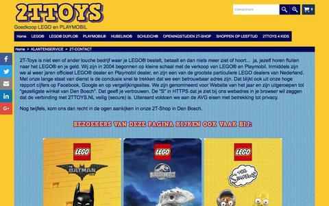 Screenshot of Contact Page 2ttoys.nl - Hoe kom je in contact met 2TTOYS, de LEGO winkel met korting uit Den Bosch? - captured Sept. 21, 2018