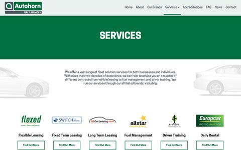 Screenshot of Services Page autohornfleetservices.co.uk - Our Services - Car Hire & Leasing | Autohorn Fleet Services - captured May 31, 2017