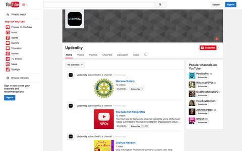 Screenshot of YouTube Page youtube.com - Updentity  - YouTube - captured Oct. 31, 2014