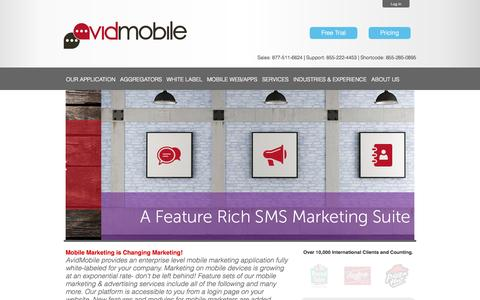 Screenshot of Home Page avidmobile.com - Mobile Marketing Experts In SMS Advertising | AvidMobile - captured Sept. 23, 2014