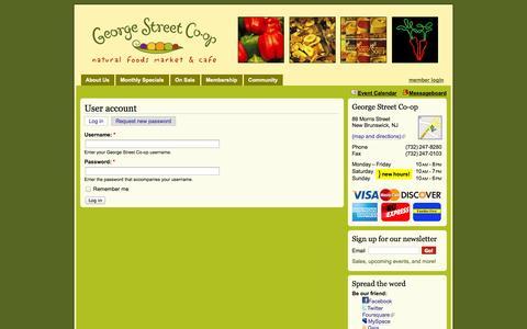 Screenshot of Login Page georgestreetcoop.com - User account   George Street Co-op - captured Sept. 30, 2014
