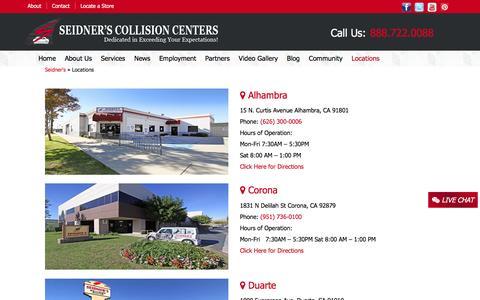 Screenshot of Locations Page seidnerscc.com - Auto Body Shop Locations | Seidner's Collision Center - captured Feb. 17, 2016