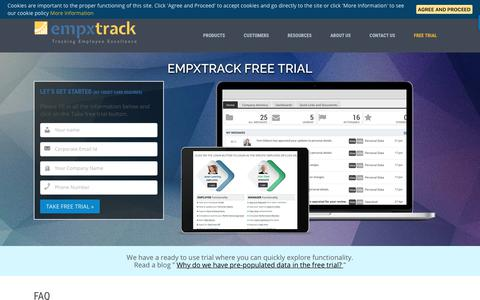 Screenshot of Trial Page empxtrack.com - Try HR Software on Cloud. Empxtrack Free Trial - No Credit Card - captured Sept. 22, 2018