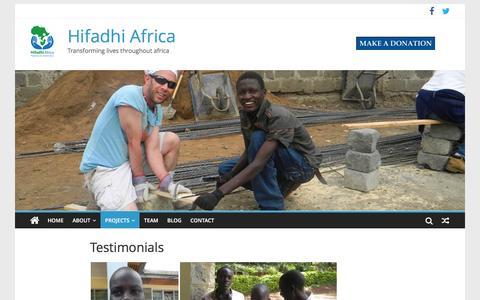 Screenshot of Testimonials Page hifadhiafrica.org - Testimonials – Hifadhi Africa - captured Jan. 29, 2016