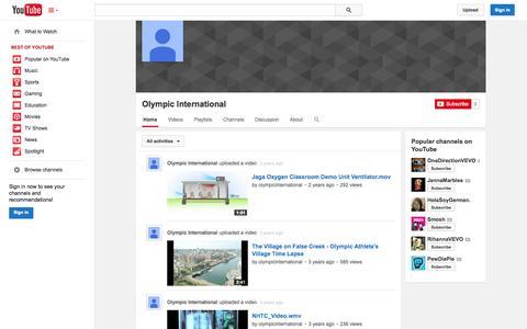 Screenshot of YouTube Page youtube.com - Olympic International  - YouTube - captured Oct. 25, 2014