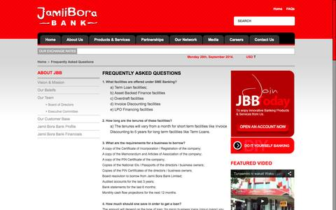 Screenshot of FAQ Page jamiiborabank.co.ke - Frequently Asked Questions | Jamii Bora Bank - captured Sept. 30, 2014