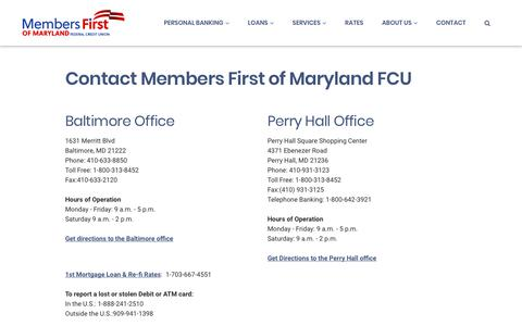 Screenshot of Contact Page mfirstcu.org - Contact - Members First of Maryland Federal Credit Union - captured July 3, 2018