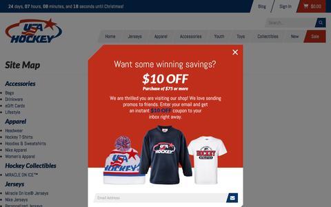 Screenshot of Site Map Page shopusahockey.com - ShopUSAHockey.com - captured Nov. 30, 2016