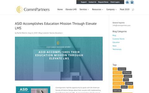 Screenshot of Case Studies Page commpartners.com - ASID Accomplishes Education Mission Through Elevate LMS | Webinars, Webcasts, LMS, eLearning Marketing Platform - captured Jan. 11, 2020
