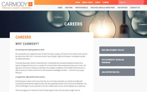 Screenshot of Jobs Page carmodylaw.com - Careers at Carmody Law Firm - captured Sept. 27, 2018